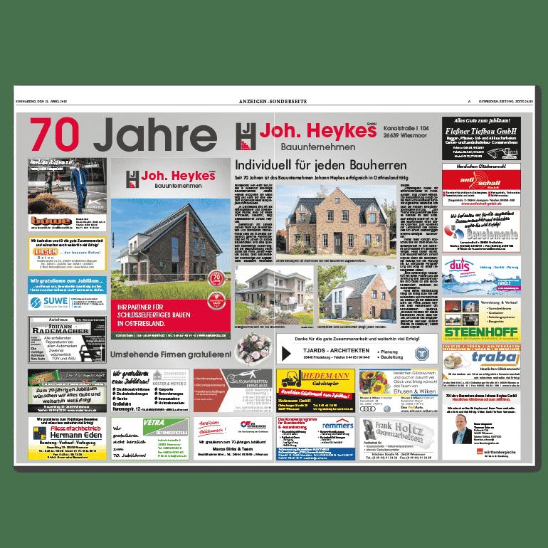 Zeitung 70 Jahre Johann Heykes Gmbh Sonderseite Ostfriesen Zeitung